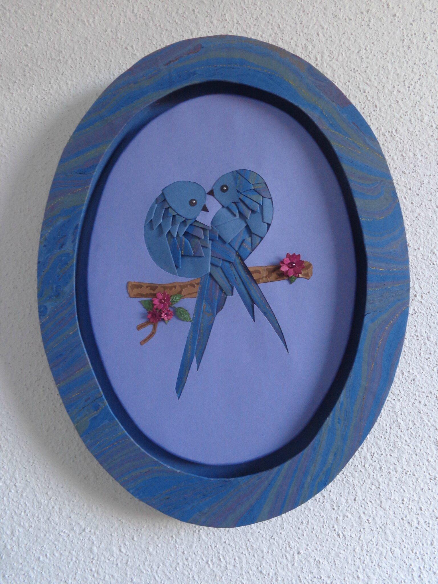 "Cadre ovale ""oiseaux"""