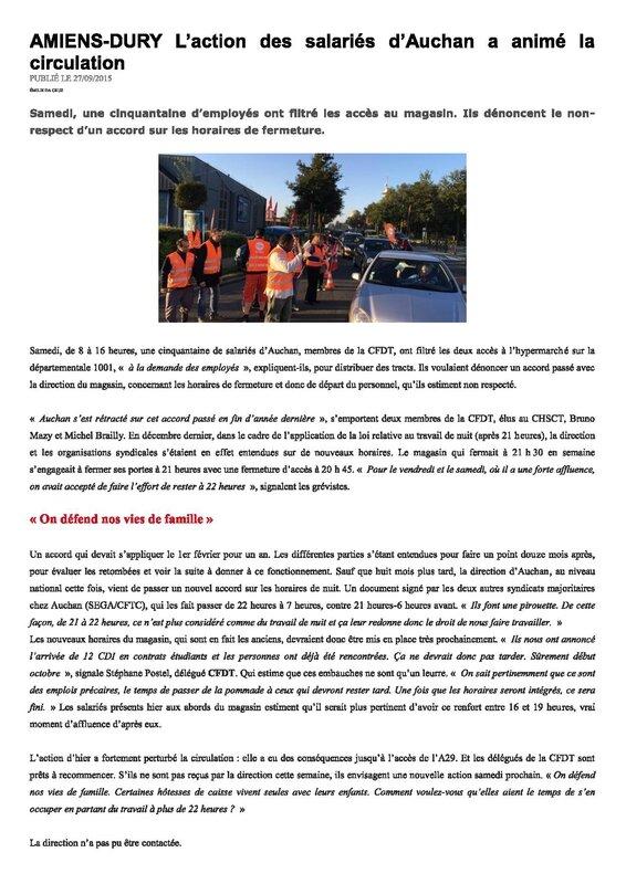 Z4-AMIENS DURY Laction des salariés dAuchan a animé la circulation
