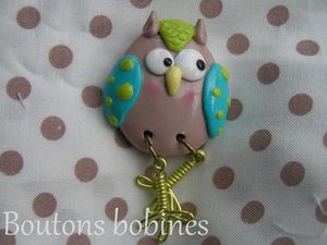 broche chouette anis turquoise