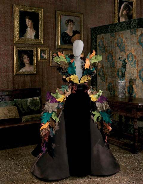 Roberto Capucci . Foglie [Leaves]. Sculpture-dress brown velvet with satin cones on the sides and ramage of