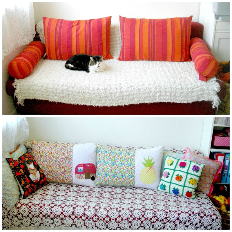 diy coussin relooker son canap une fille frange. Black Bedroom Furniture Sets. Home Design Ideas