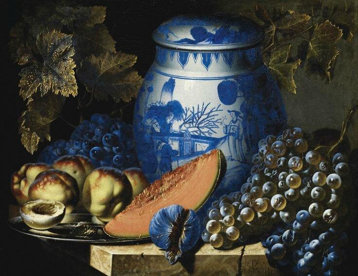 Pierre-Antoine Lemoine (Paris 1605 – 1665), Nature morte aux raisins, plat de pêches et potiche chinoise sur un entablement en pierre