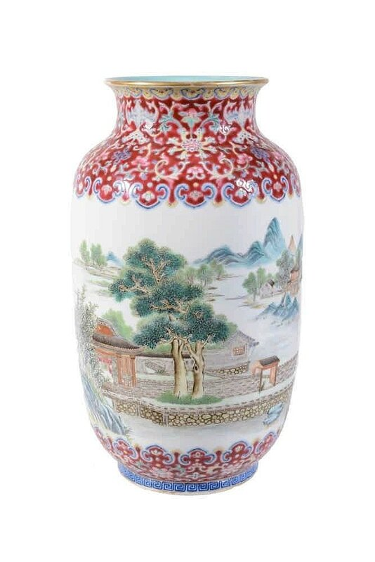 A Chinese famille rose landscape vase , early 20th century
