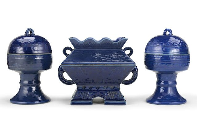 An Imperial blue-glazed ritual altar set for the Temple of Heaven, Qianlong seal marks and of the period