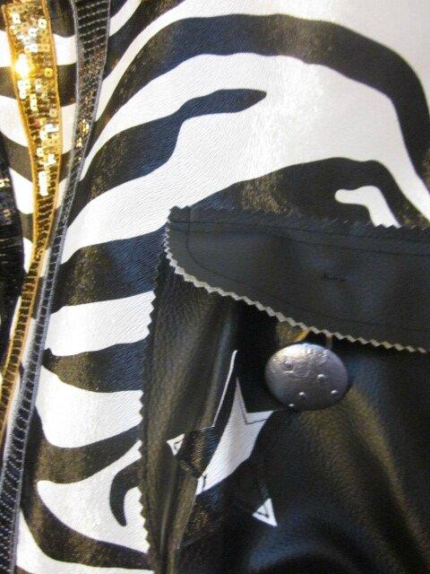 Sac FELICIE n°36 en simili cuir imprimé zèbre et lin noir (4)