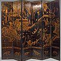Paravent à six feuilles en bois laqué noir, chine, canton, vers 1800