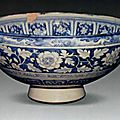 Bowl, porcelain painted in underglaze blue, China, Yuan dynasty. National Museum of Iran.