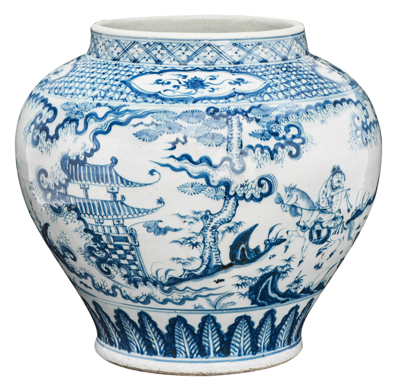 Important Blue And White Guan Vase China Ming Dynasty