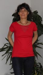 t-shirt v pois rouge T1