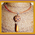 Collier orange chocolat maxi boule et maxi goutte orange