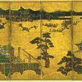 06-Genji monogatari zu Byôbu, un des deux paravents illustrant six scènes du Dit du Genji, attribuée à Tosa Mitsumoto (XVIè), en fait début XVIIème, H149,8cm, L349,6cm, n°2