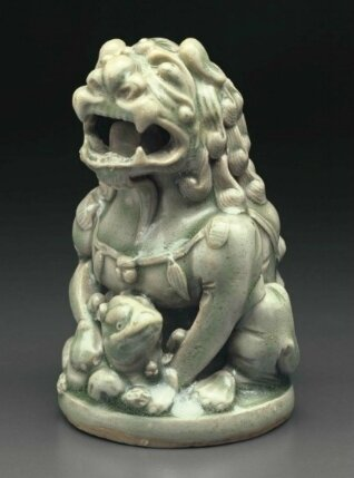 A Yaozhou celadon lion and cub-form censer cover, China, Northern Song-Jin Dynasty, 12th-13th century