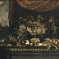 Attribué à francisco barrera (actif entre 1625 et 1657), nature morte à la coupe de raisins, aux figues et divers fruits disposé