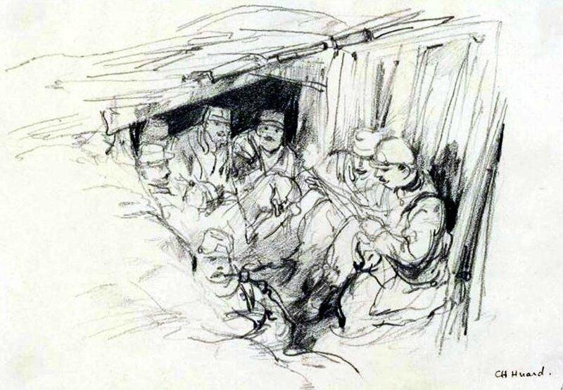 Huard soldats dans une tranchée