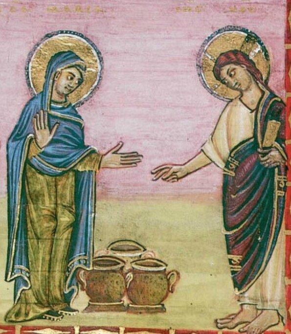 les noces de Cana, Marie et Jésus, détail codex Egbert