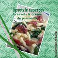 Spaetzle aux asperges vertes, bresaola & crème de parmesan