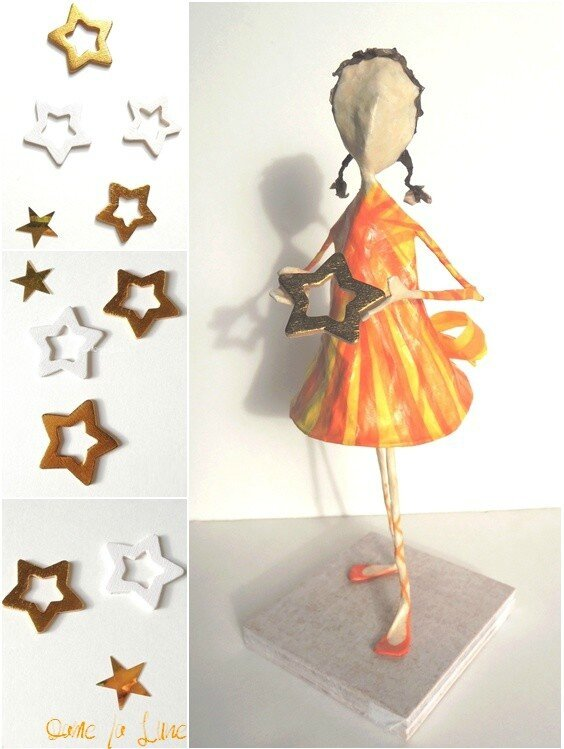figurine en papier_creation_dame la lune_fillette_étoile_