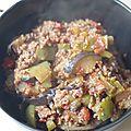 Aubergine, poivron et boeuf à la tomate aux saveurs méditerranéennes.