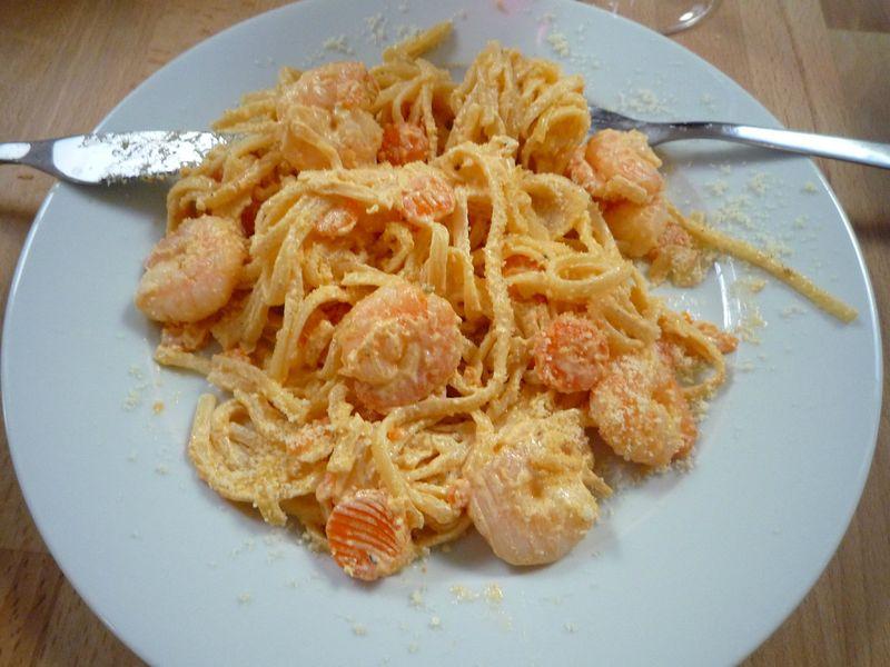 linguine crevettes mascarpone et carottes la cuisine sans polyamines. Black Bedroom Furniture Sets. Home Design Ideas