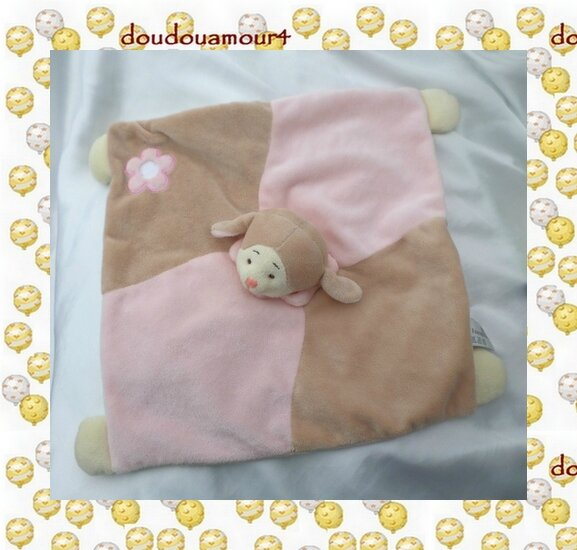 Doudou Peluche Plat Carré Mouton Rose Beige Fleur Soft Friends