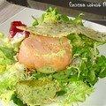 Saumon à la mousse de courgette au micro-onde et sa fine galette de parmesan
