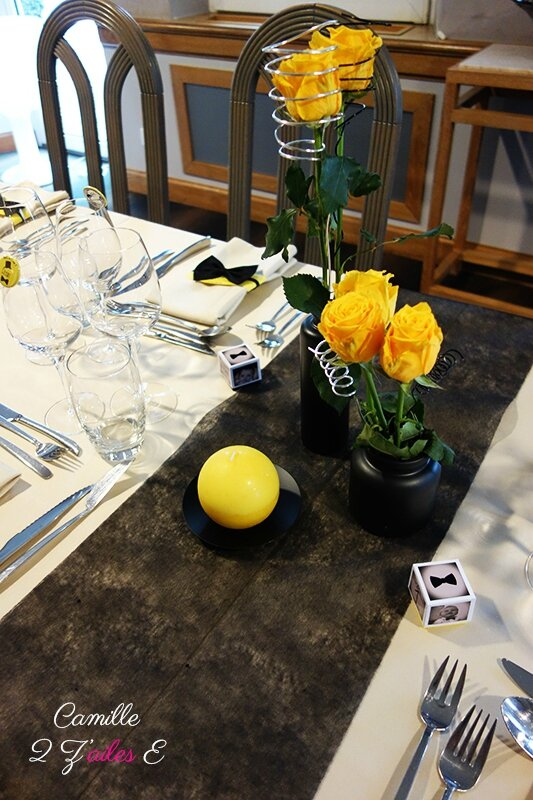 deco table noir jaune