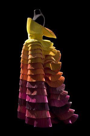 'Sculpture Dress,' 1992. By Roberto Capucci (Italian, b. 1930). Schauspielhaus Theatre Berlin. Sculpture-dress, multi-coloured plissé taffeta, overlapping pleats on the skirt. Claudia Primangeli / L.e C. Service. Courtesy of the Philadelphia Museum of Art