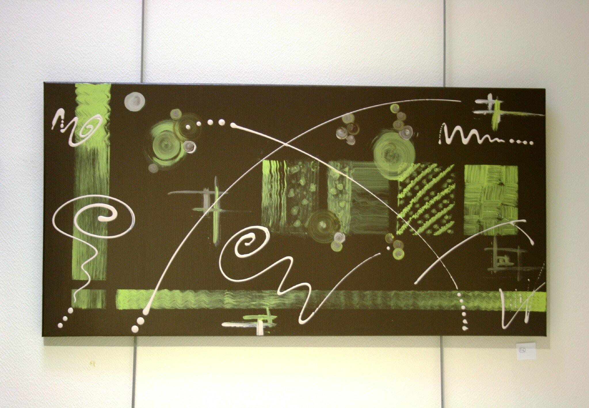 Shoshamba tableau contemporain abstrait marron et vert bambou l art contem - Comment faire un tableau contemporain ...