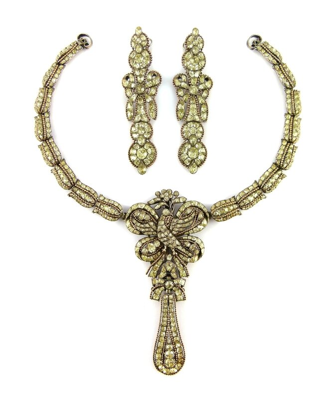 f0350ef1a5 18th century chrysolite pendant necklace and earrings set, Portuguese,  c.1780. Asking price in the region of £20,000-£50,000. Courtesy S. J.  Phillips Ltd