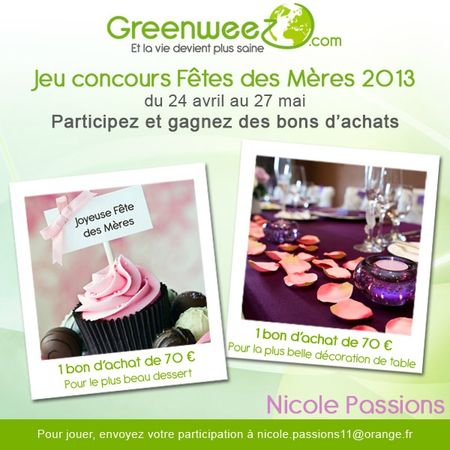 jeu concours fetesMeres 2013 Greenweez et Nicole Passions