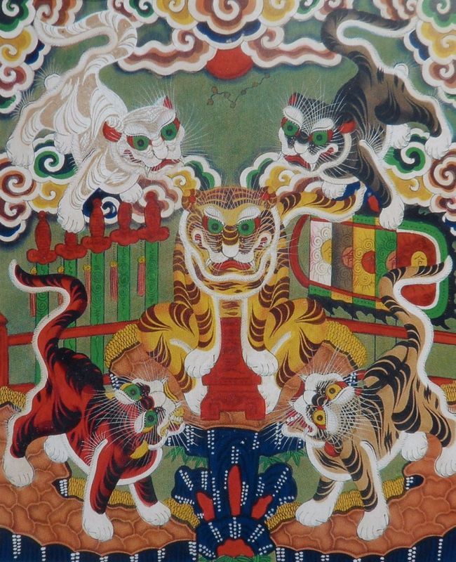 Les Cinq Tigre, estampe Hang Trong, 19es., Musée des BA (Hanoi).