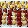 petits fours citron, framboise, caramel