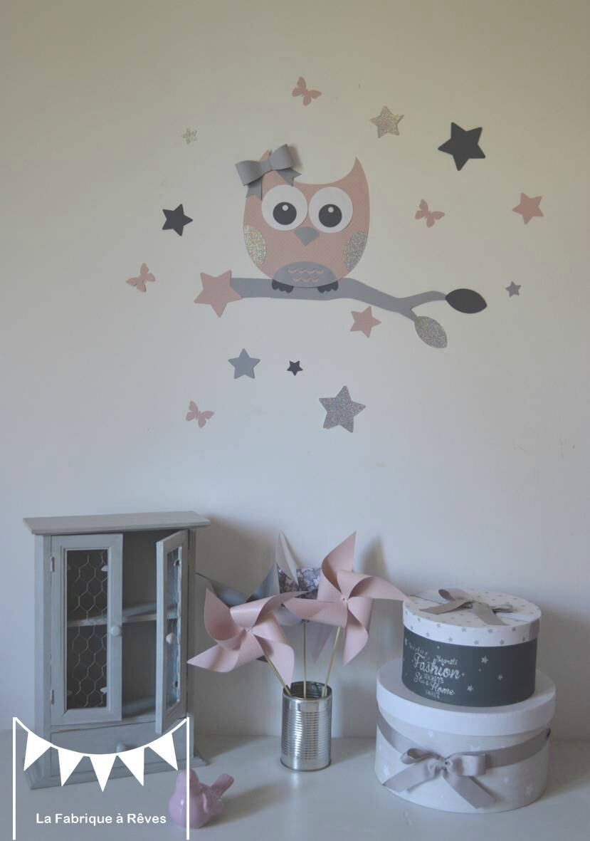 Stickers d coration chambre enfant fille b b hibou for Decoration chambre bebe fille rose et gris