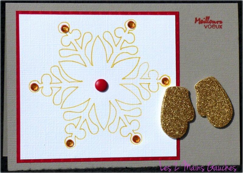 carte de voeux avec flocon et moufles dorées pailletées