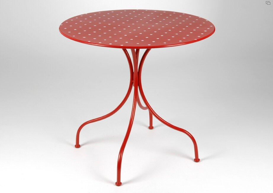 Table de jardin fer rouge - Table ronde pliante pas cher ...