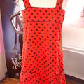 robe rouge pois noirs