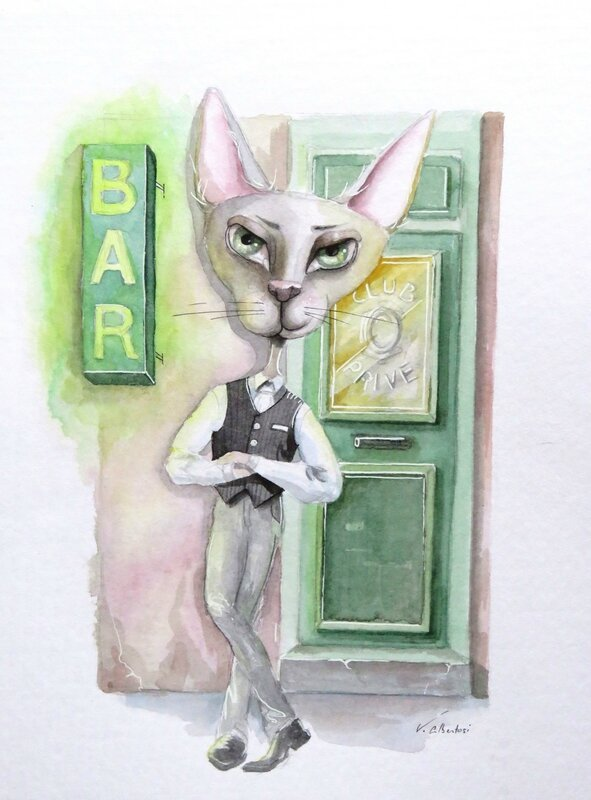aquarelle chat nuit club bar illustration valerie albertosi