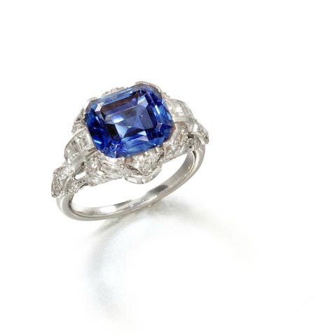 A sapphire and diamond ring, circa 1930