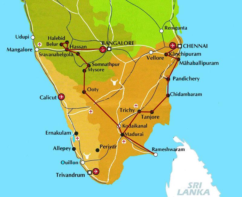 Carte De Linde Mysore.De Bangalore A Chennai Asiemutee