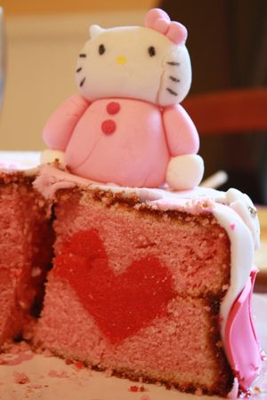 G teau d 39 anniversaire surprise hello kitty avec un coeur l 39 int rieur si j 39 y arrive - Gateau surprise anniversaire ...