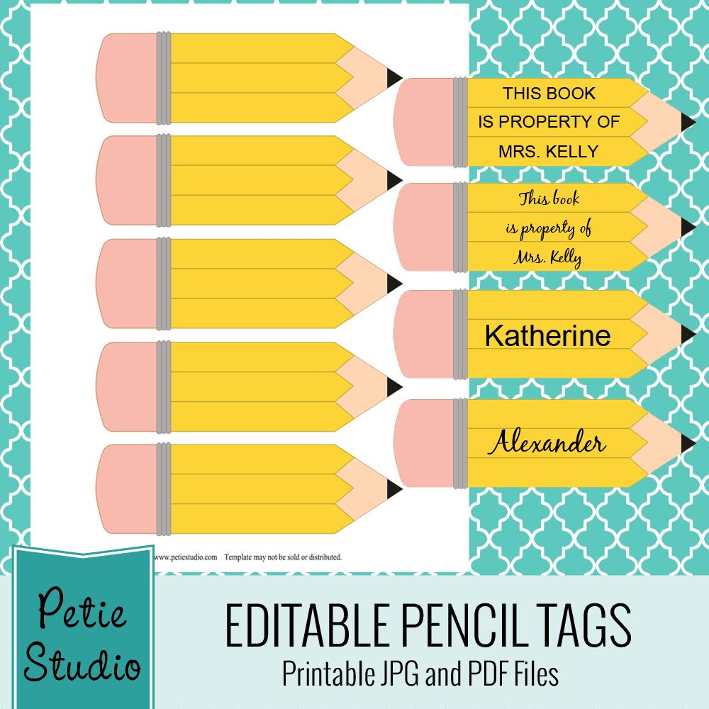 Extrêmement Des étiquettes crayon et un motif fournitures scolaires (à  BG12