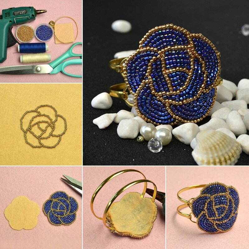 1080-Embroidery-Jewelry---How-to-Make-Blue-Seed-Bead-Embroidery-Rose-Bangle-Bracelets