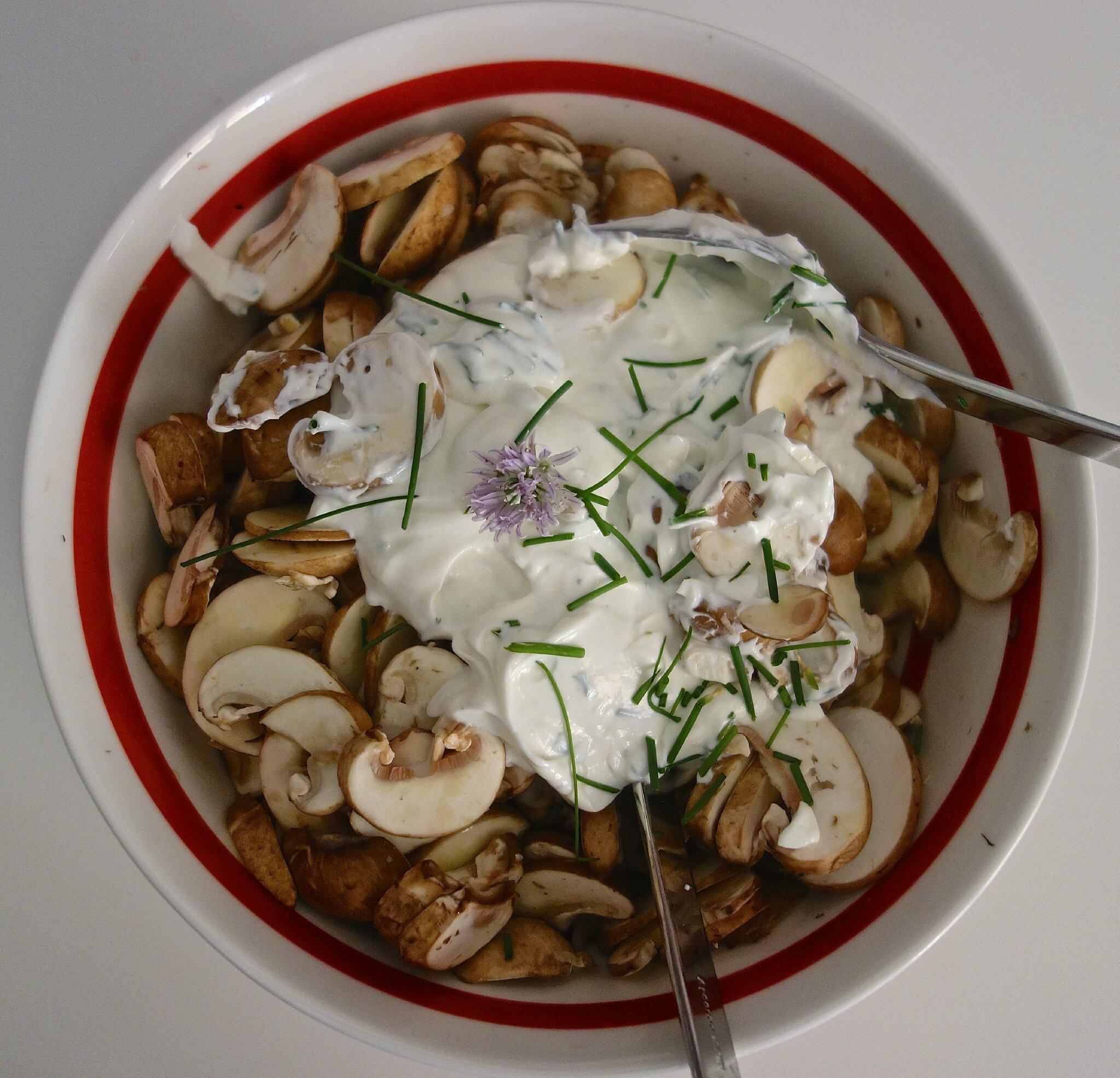 Salade de champignons de paris frais de dame vanille menus propos - Salade de champignons frais ...
