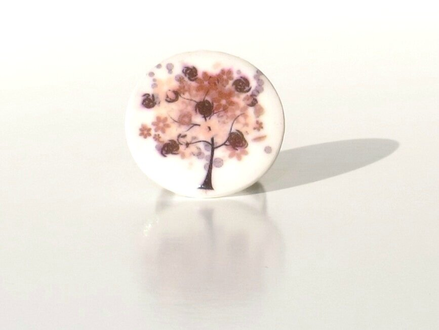 bague fimo arbre marron face