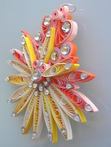 pendentif quil jaune orange strass 3