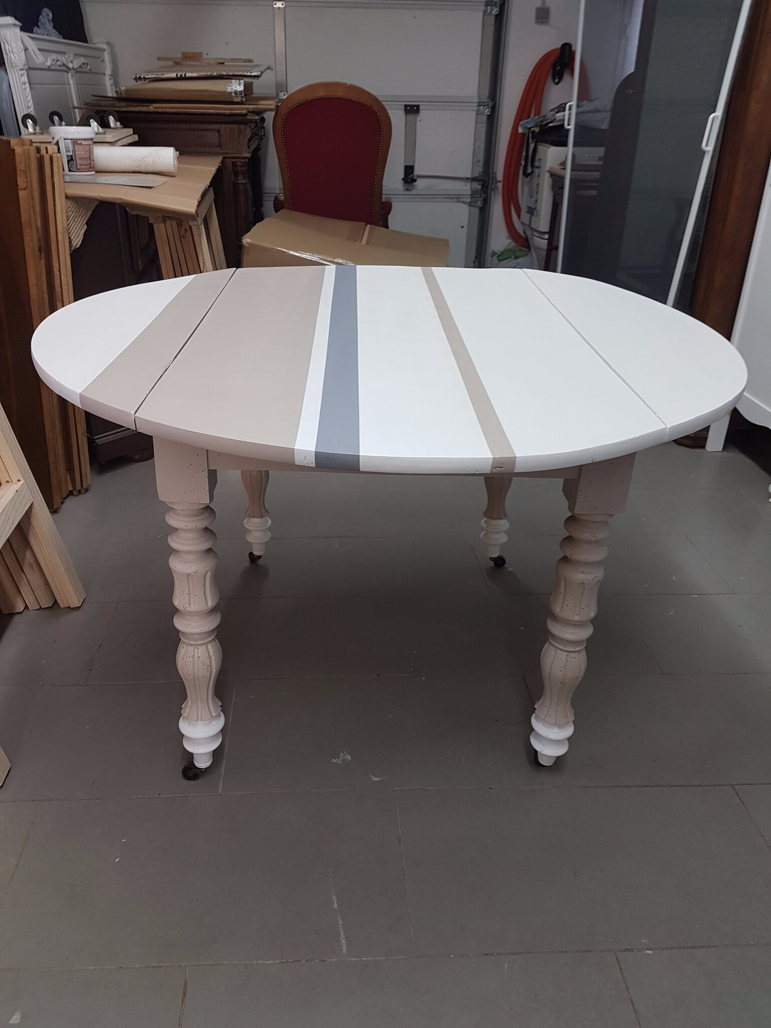 Table à rabats version console  Grenier & Patines 45 -> Table Ronde Relookee