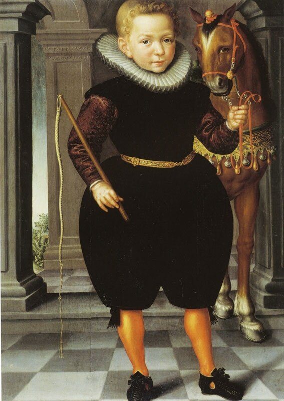 1609_Circle_of_Jan_Claesz__Enkhuizen_painter__b_1570__a_1618__An_eight_year_old_boy__possibly_of_the_Blauhulck_family__with_his_horse