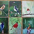 série des oiseaux acrylique sur toile