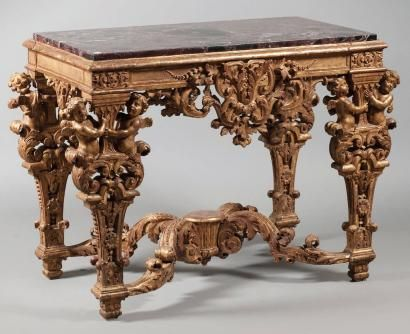 Table de milieu en bois dor france poque louis xiv - Table basse louis xiv ...