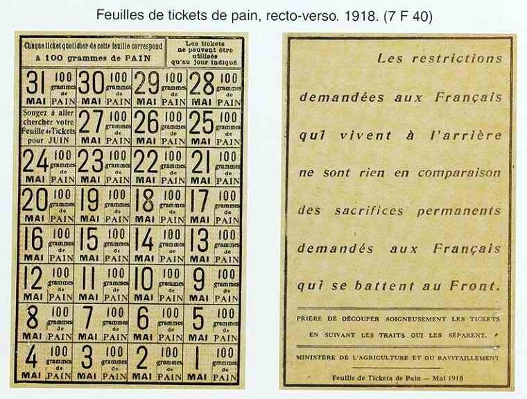 Feuilles de tickets de pain